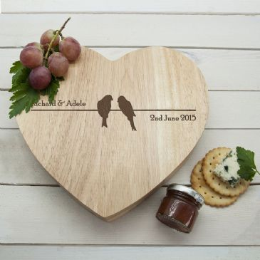 Love Birds' Romantic Heart Cheese Board